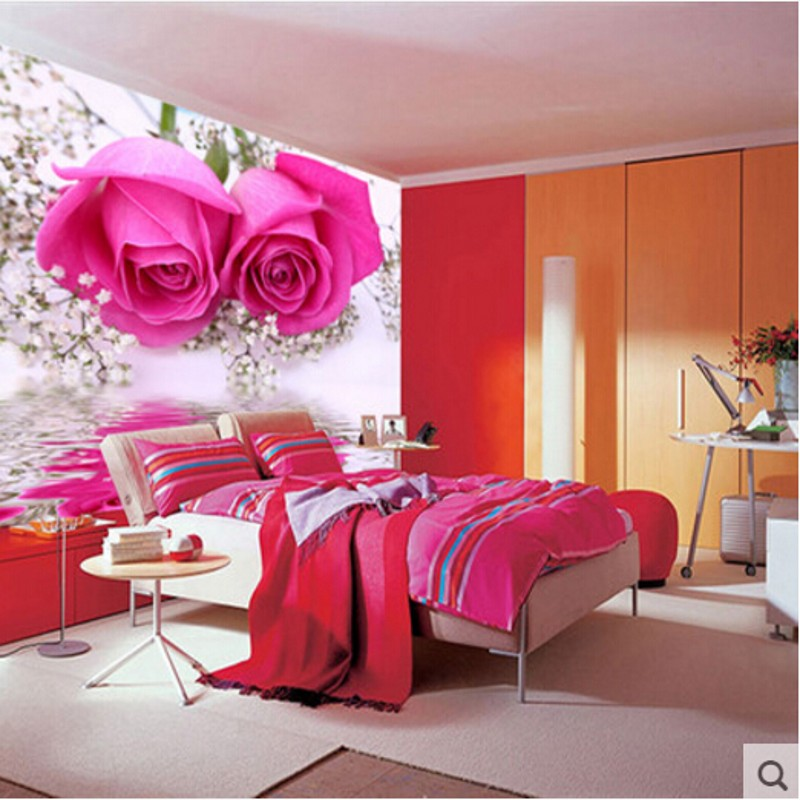 Beibehang Hd Rose Romantic Bedroom Wallpaper Mural Large Flower