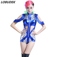 Women Bar stage performance clothes Blue Sexy Hollow out bodysuit Nightclub Leading dancer Jazz DJ Modern dancing show Costume
