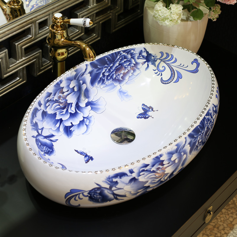 Oval Ceramic Counter Top Wash Basin Cloakroom Hand Painted Vessel Sink  Bathroom Sinks Blue And White