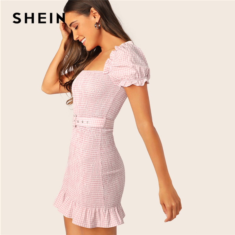 SHEIN Pink Puff Sleeve Dress