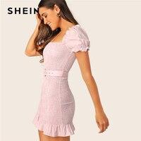 SHEIN Pink Frill Puff Sleeve Ruffle Hem Shirred Gingham Bodycon Dress With Belt Women Square Neck Boho Slim Summer Mini Dresses