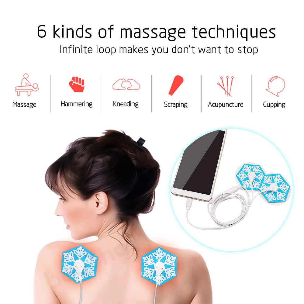New Portable Muscle Stimulator Body Back Neck Massager Phone connection Acupuncture Back Neck Tens Therapy Electric  Pad Relax