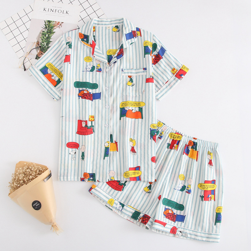 1a8f18396 Japanese simple short pyjamas women 100% cotton short sleeves ladies pajama  sets shorts Cute cartoon sleepwear women homewear-in Pajama Sets from  Underwear ...