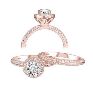 Image 5 - Newshe 2 uds anillos de boda de oro rosa para mujeres 925 Plata de Ley corte redondo AAA CZ conjunto de anillos de compromiso