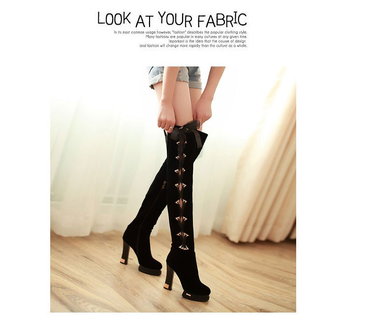 61 2016 Trend New Autumn And Winter Knee-length Womens Boots Thick High-heeled Scrub Boot Classic Round Lace With Women Shoes