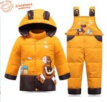 Зимние детские мультики вниз parka пальто комбинезоны брюки устанавливает мило лошадь водонепроницаемый детский мальчики девочки зимний пиджаки костюмы