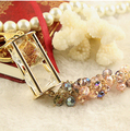Colorful crystal abalorios zircon keychain/korean jewelry women bag charm accessories/chaveiro/llaveros/porte clef/trinket  car