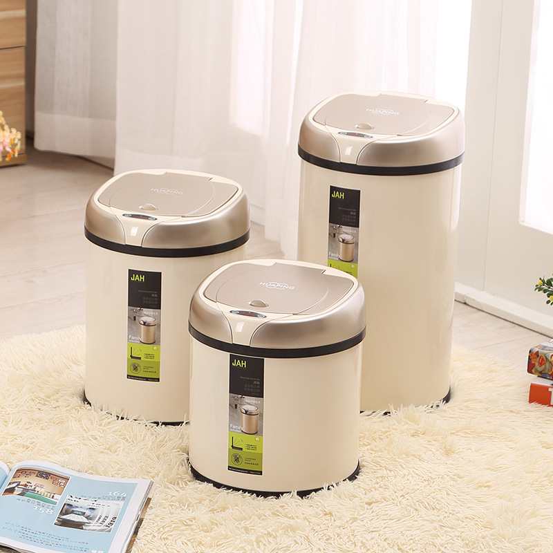 Automatic Trash Bin Stainless Steel Garbage Cans Waste Bin