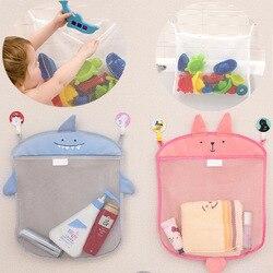 Bebê banheiro saco de malha para brinquedos de banho saco crianças cesta para brinquedos net desenhos animados formas animais à prova dwaterproof água pano areia brinquedos praia armazenamento