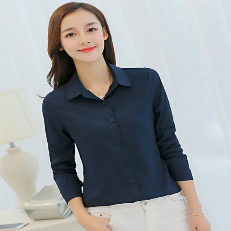 womenoffice shirt summer autumn long sleeve white pink red navy blue work wear korean formal tops female clothing