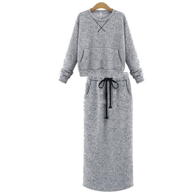 New Autumn Women Knit Sweatshirt Skirt Set Long Sleeve Sweaters Top And Maxi Skirts Sets Blue Gray Color Women Casual 2PCS Suits