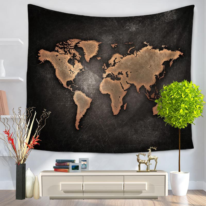 Charmhome world map pattern tapestry hanging polyester fabric wall charmhome world map pattern tapestry hanging polyester fabric wall decor vintage retro style blanket beach toweltapestries in tapestry from home garden on gumiabroncs Image collections