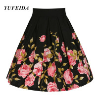Retro Flower Skirt Women Girls 1950s 60s Autumn Summer Flared Skirt Rose Floral Printed High Waistl Philabeg Short Midi Skirt
