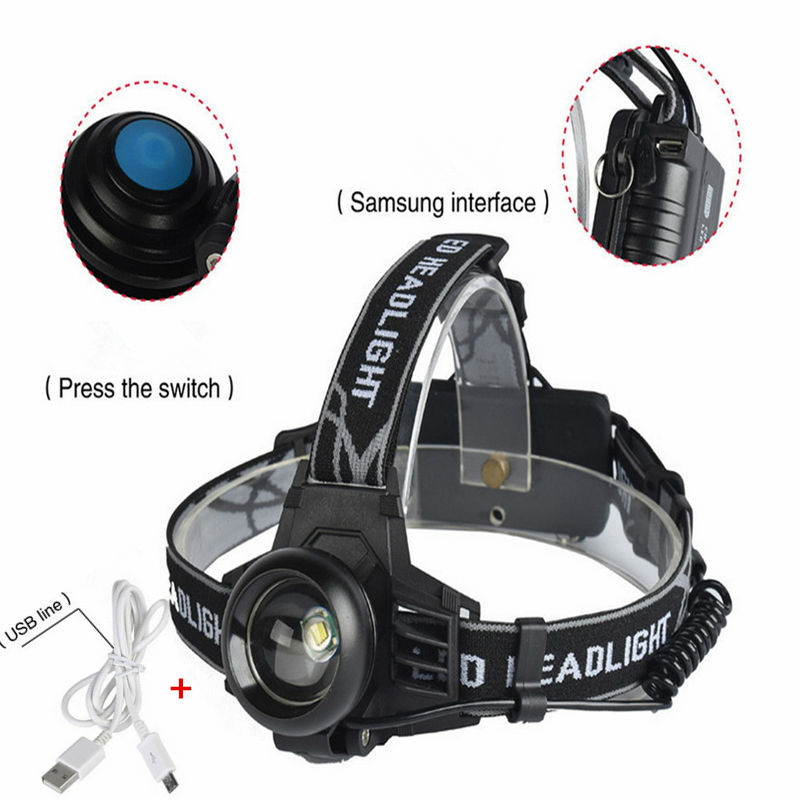 Newest 2000LM Light XML T6 Headlamp LED USB Headlight Head lamp Rechargeable 3 mode Flashlight Head Torch+USB line 3 xml t6 2 blue light led headlamp 15000lm usb rechargerable led headlight head lamp 5 mode head torch for fishing lantern light