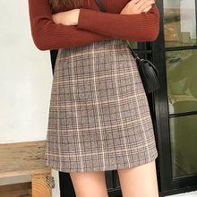 16730fce336d Liva girl 2019 Plaid Print Bodycon Skirt Women Grey Mid Waist Short Skirt  winter