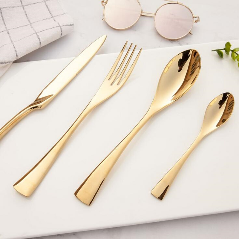 KuBac Baru 24Pcs / set Golden Dinnerware 304 Stainless Steel Dinner Steak Pisau Garpu Parti Gold Set alat makan pinggan mangkuk