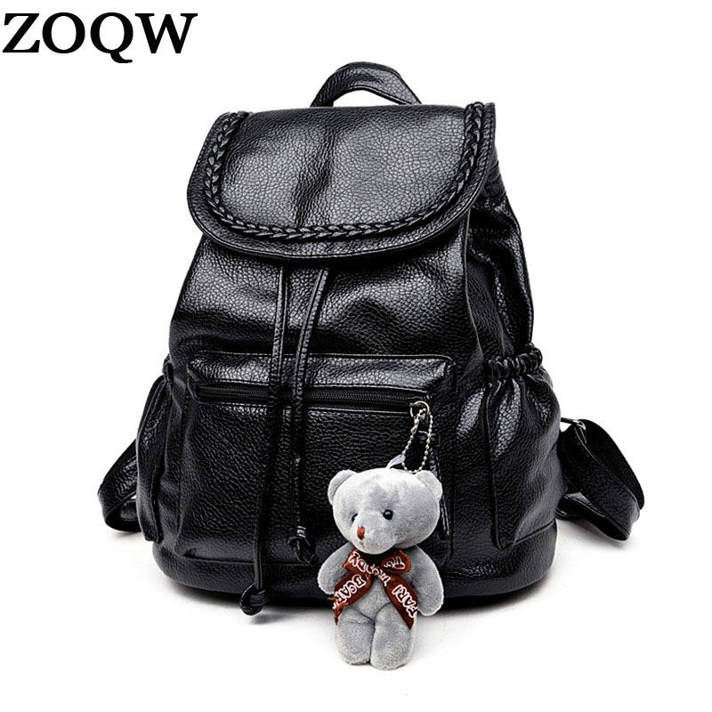 Fashion Women Backpack School Bags For Teengers Girls Soft Leather Backpack Female Rucksack Drawstring Backpacks Wyq117