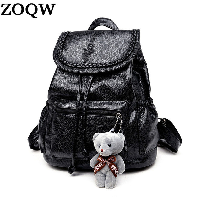 2018 Fashion Women Backpack School Bags For Gers S Soft Leather Female Rucksack Drawstring Backpacks