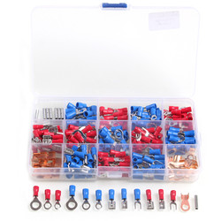300PCS Assorted Insulated Electrical Wire Crimp Cable Connector Spade Butt Ring Fork Set Ring Lugs Rolled Terminals Kit with Box