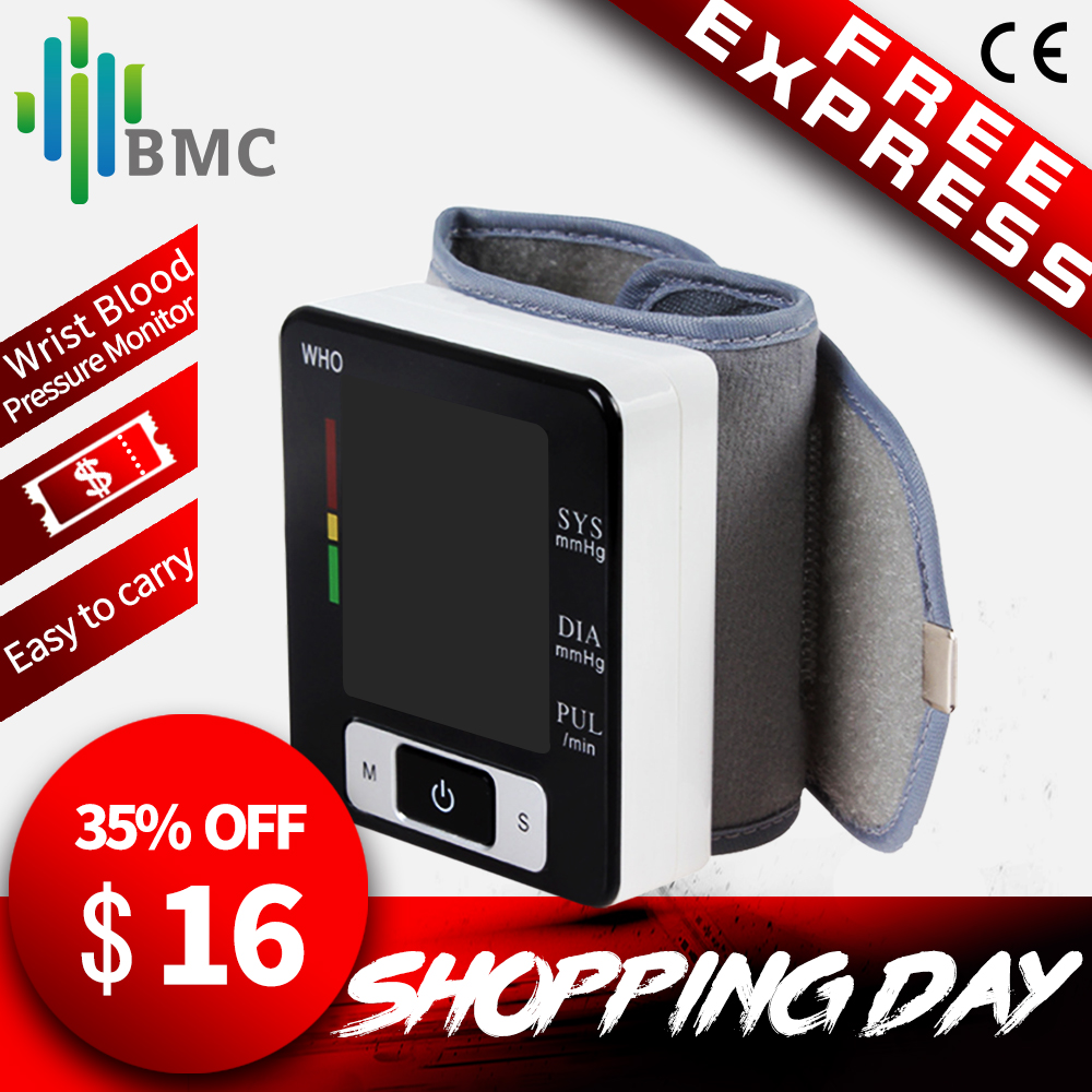 BMC Handgelenk Digitale Blutdruck Monitor Automatische Blutdruckmessgerät Smart Medizinische Maschine Messen Puls Rate Fitness Messung
