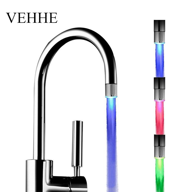 VEHHE LED Multi Colors Faucet Light watersaving Glow Shower Stream Tap Kitchen Bathroom Led Aerators цена