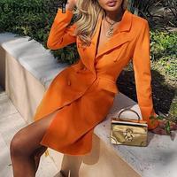 Glamaker Orange mini short bodycon blazer dress Women elegant autumn office dress Party long sleeve winter sexy blazer dress