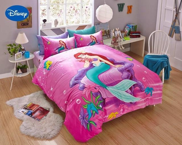Pink Disney Cartoon Mermaid Ariel Printed Bedding Sets For S Bedroom Decor Cotton Bedspread Sheet Covers