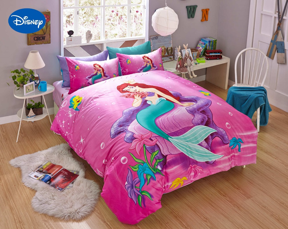 Roze Disney Cartoon Mermaid Ariel Gedrukt Beddengoed Sets voor ...
