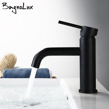 Новый матовый черный Роза современный стиль кран бассейна холодной и горячей моды круглый одно отверстие ванная комната небольшой кран для...