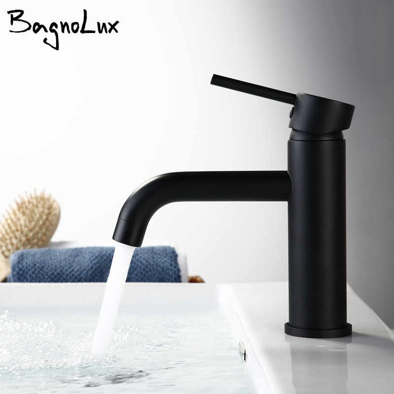 New Matt Black Alba Rose Modern Style Tap Basin Cold And Hot Fashion Round Single Hole Bathroom Small Faucet Basin Ducha Crane