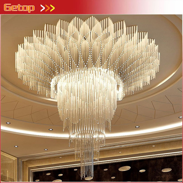 Luxury hall crystal large lights circular living room engineering hotel pendant light villa shop mall lamps