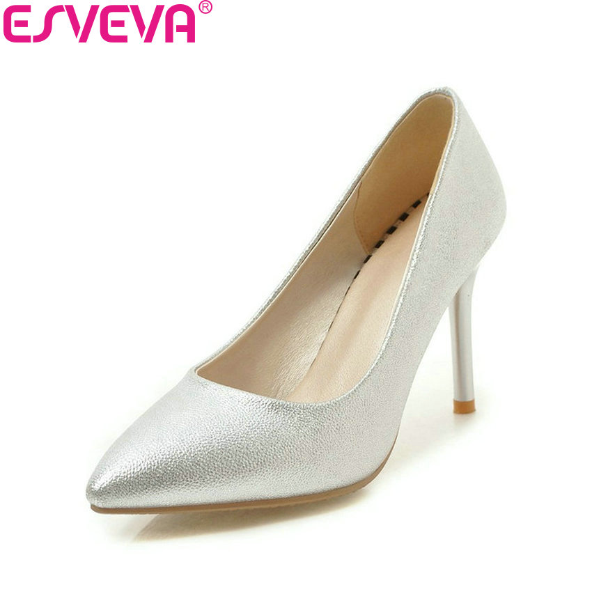 ESVEVA 2018 Women Pumps Sexy Slip on Shoes Thin High Heels Pink Pointed Toe Simple and Fashion Party Women Shoes Size 34-43 platform pumps fashion 2015 new shoes pumps pointed toe women pumps bowtie party slip on spool heels size 34 43