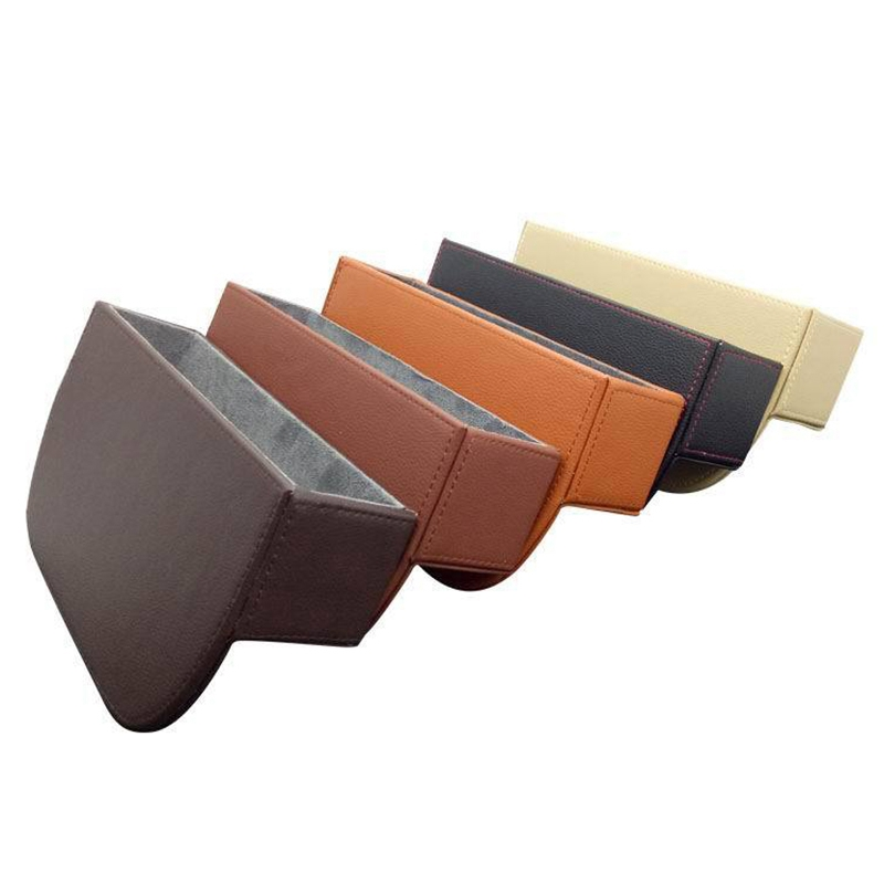 Convenient and Comfortable 5 Colors Leather Car Seat Slot Mobile Phone Case Clamp Finishing Storage Box for Car Use