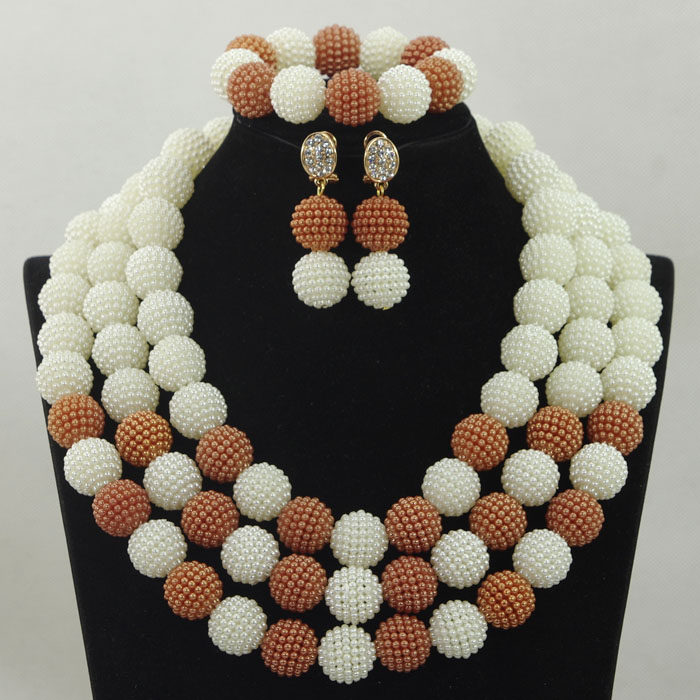 White and Champagne African Beads Jewelry Sets beaded Bridal Handmake Wedding Party Jewelry Set Layered Ball Weaving hx337 plus pearl beaded layered hem blouse