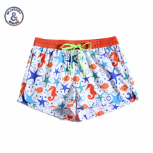 цена на Women Summer Shorts Casual Drawstring Waistband Marine bioprint Beach Style Swim Pool with Pocket Loose Female Shorts