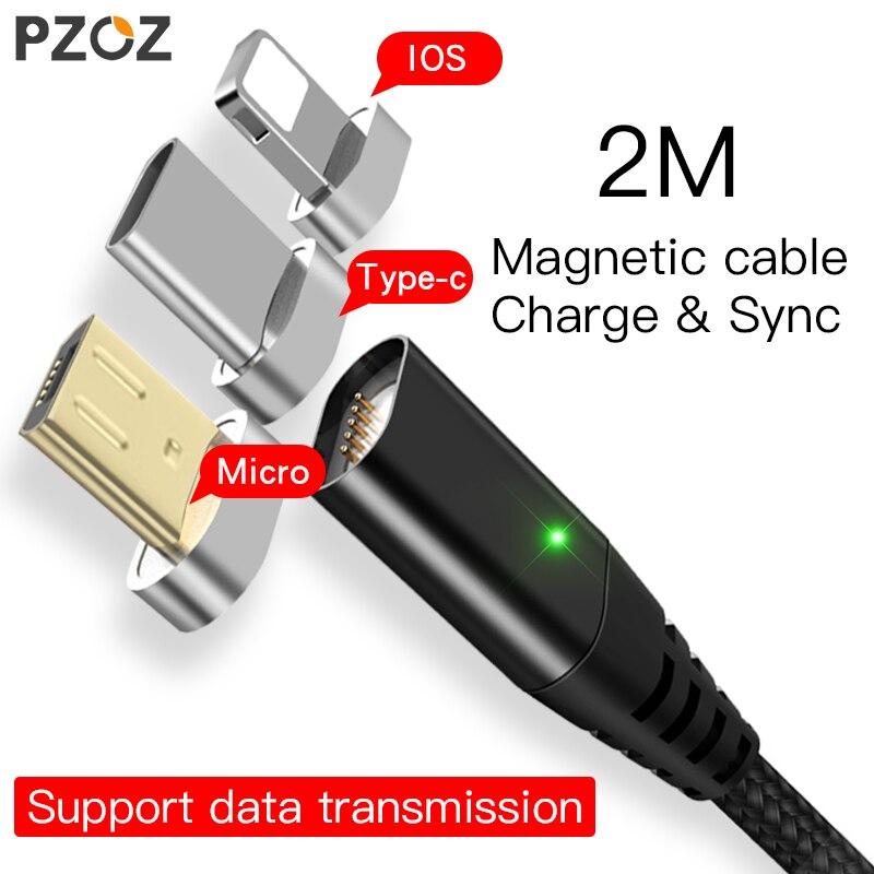 PZOZ Cable magnético 2 M tipo C Micro USB C 8 pin carga rápida adaptador de teléfono Microusb tipo-c cargador de imán para iphone X 7 6 cable