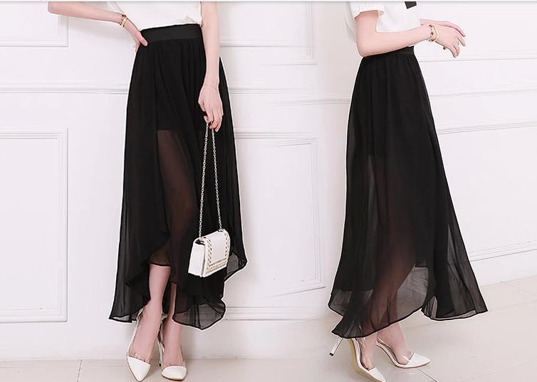 cce79505e9 US $22.99 |Women Summer Style Plus Size XXS 8XL Sexy High Slit Sheer  Black/White/Green/Grey Chiffon Long Maxi Skirt Saias Longa Femininas-in  Skirts ...