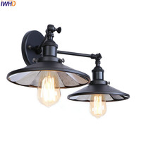 IWHD Black Antique Vintage Wall Light Fixtures Living Room Mirror Industrial Retro Edison Wall Sconce LED Luminaire Lighting