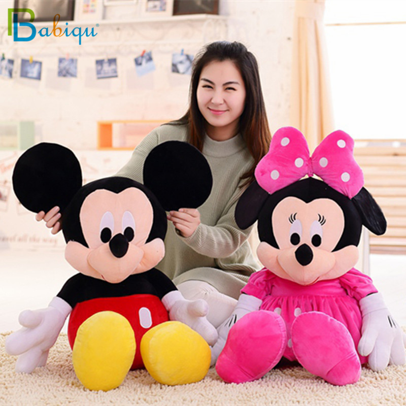 Babiqu 1pc 50cm Hot Cute Stuffed Mickey Mouse And Minnie Mouse Cartoon Plush Toys Soft Animal Dolls Classic Children's Gifts