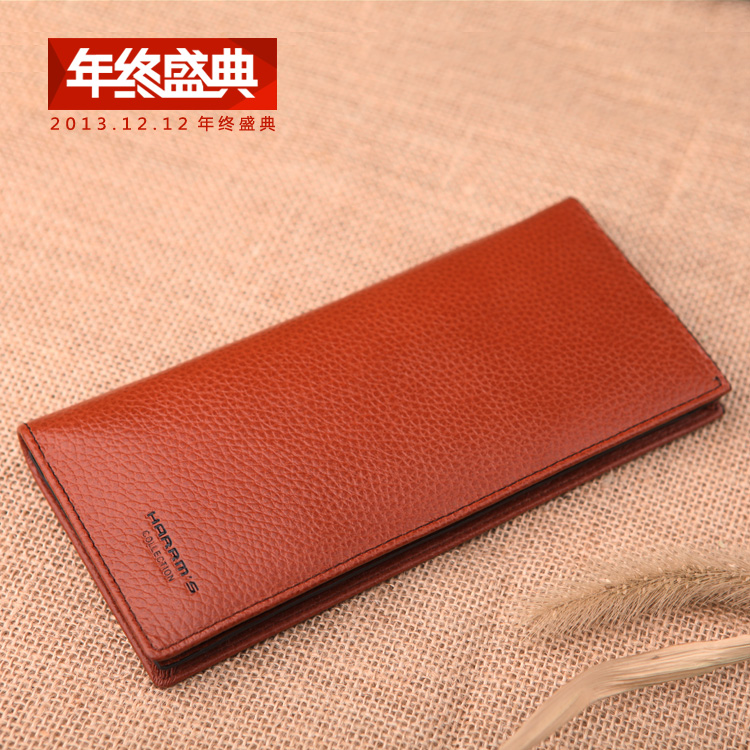 100% Genuine Leather Man Wallet 2014 New Arrival Wallet For Men Brand Design Purse Black/Brown Long Wallets