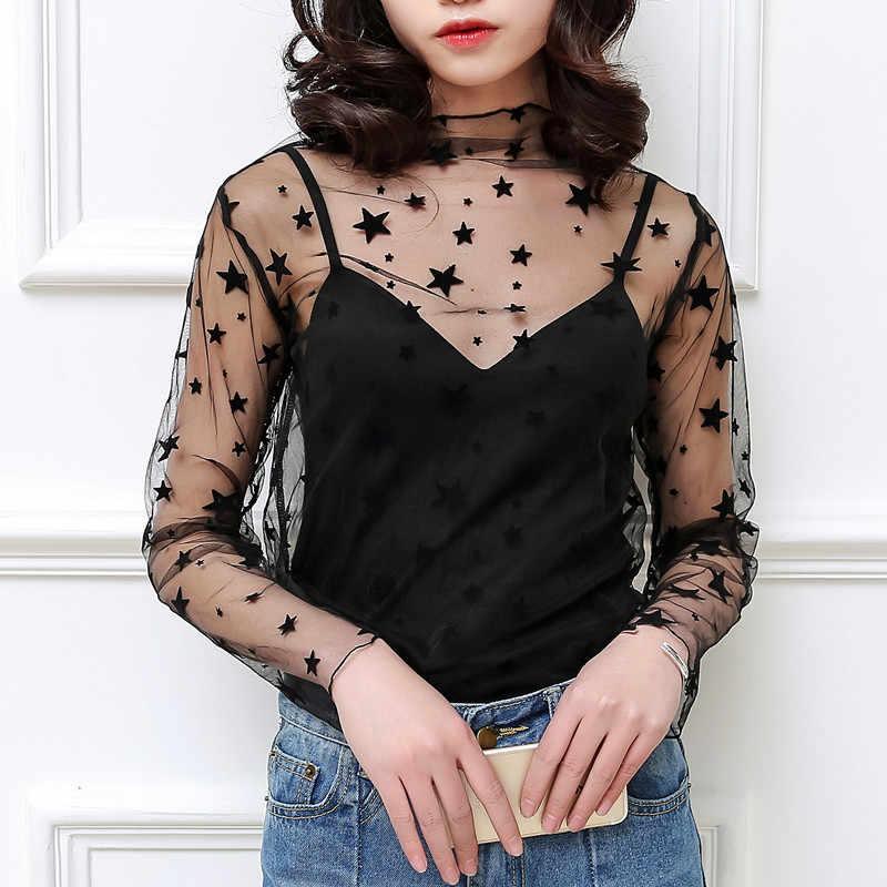 새로운 여성 귀여운 네트 원사 섹시한 레이스 셔츠 중공 스타일 여성 터틀넥 메쉬 원근법 셔츠 그물 셔츠를 통해 볼 f0170