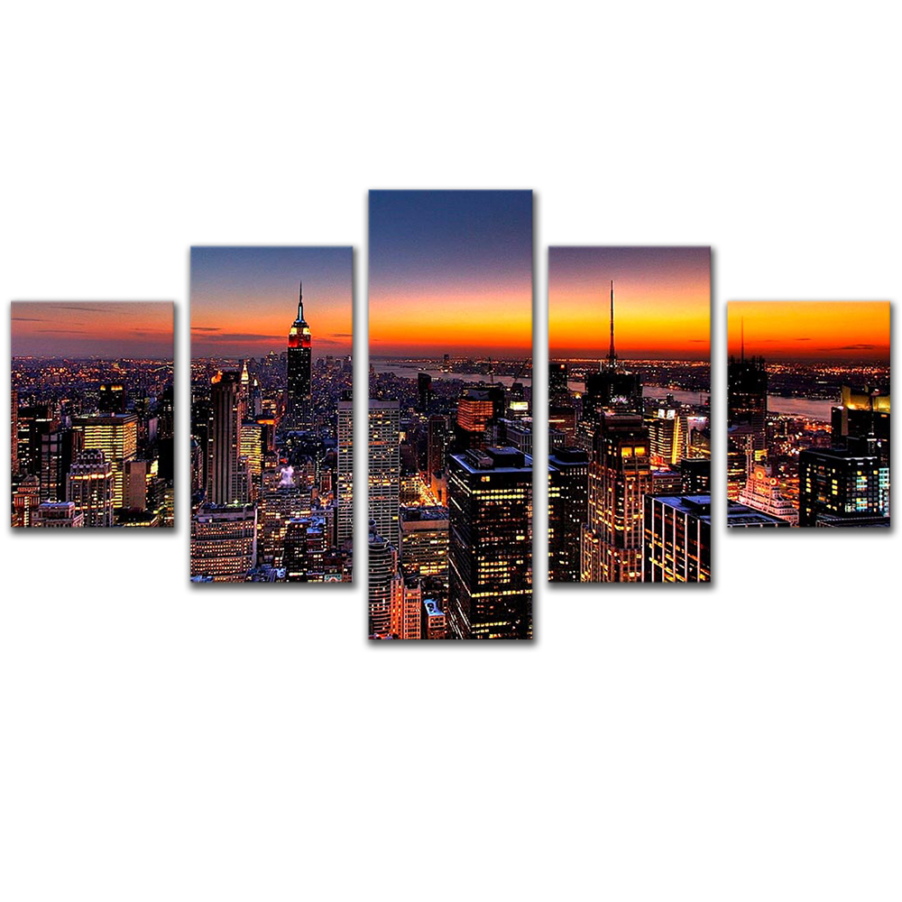 Unframed Canvas Painting City Night Scenery Building Light Photo Picture Prints Wall Picture For Living Room Wall Art Decoration