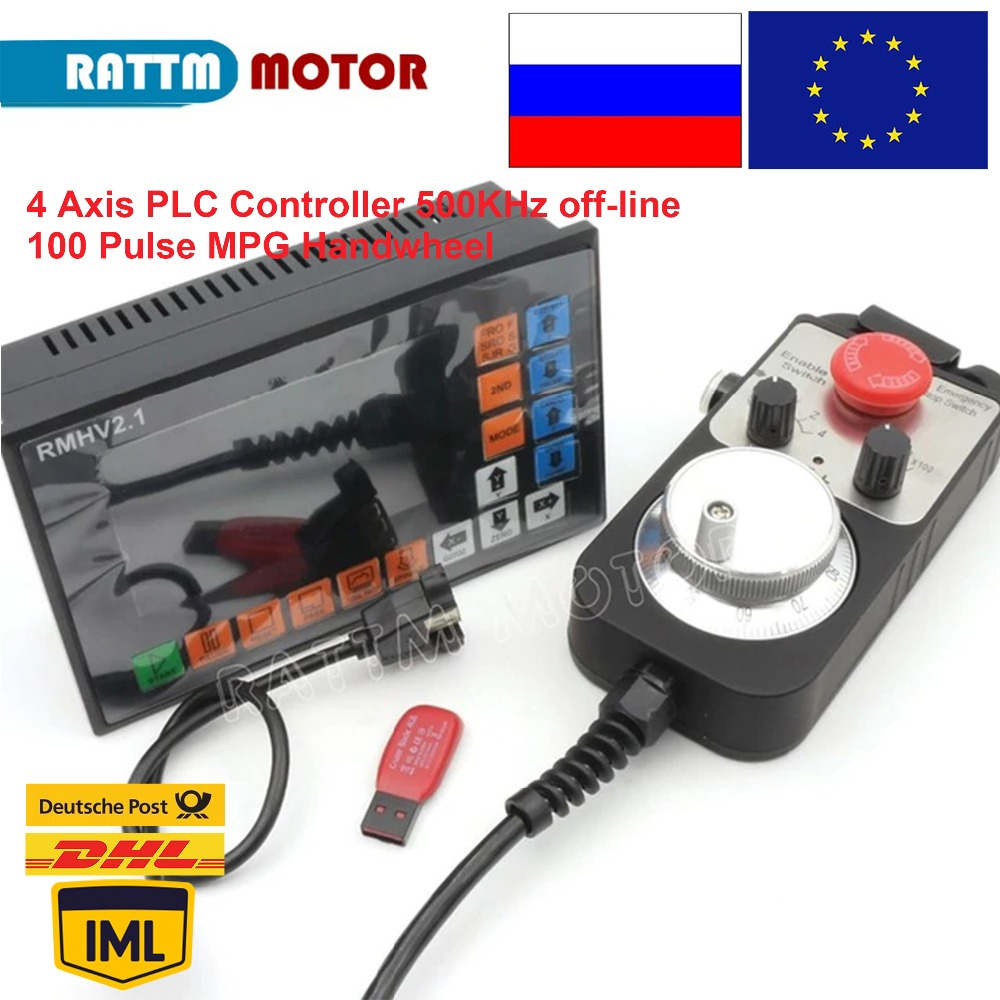 4 Axis PLC offine Controller 500KHz 100 Pulse MPG Handwheel Emergency Stop for CNC Router Engraving