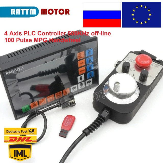 4 Axis PLC offine Controller RMHV 3.1 500KHz 100 Pulse MPG Handwheel Emergency Stop for CNC Router Engraving Milling Machine