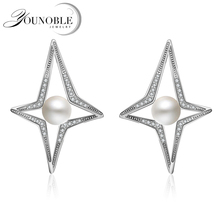 YouNoble AAAA Top Quality 100% Natural Freshwater Pearl Stud Earrings For Women Elegant Party 925 Sterling Silver Jewelry white