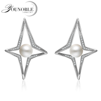 YouNoble AAAA Top Quality 100 Natural Freshwater Pearl Stud Earrings For Women Elegant Party 925 Sterling