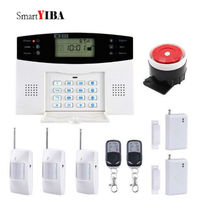 SmartYIBA House Security Intruder Alarm System Voice Prompt LCD Display Wired Siren Kit 7 Wired Defence Zone SOS GSM Alarm