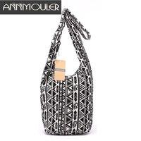 Дизайнер Для женщин сумка Mochila черный, белый цвет сумка богемный Стиль Племенной сумка хлопок Ткань дамы Bolsa