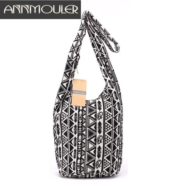 96705ac1b7e5 Designer Women Shoulder Bag Mochila Black White Crossbody Bag Bohemian  Style Tribal Messenger Bag Cotton Fabric Ladies Bolsa