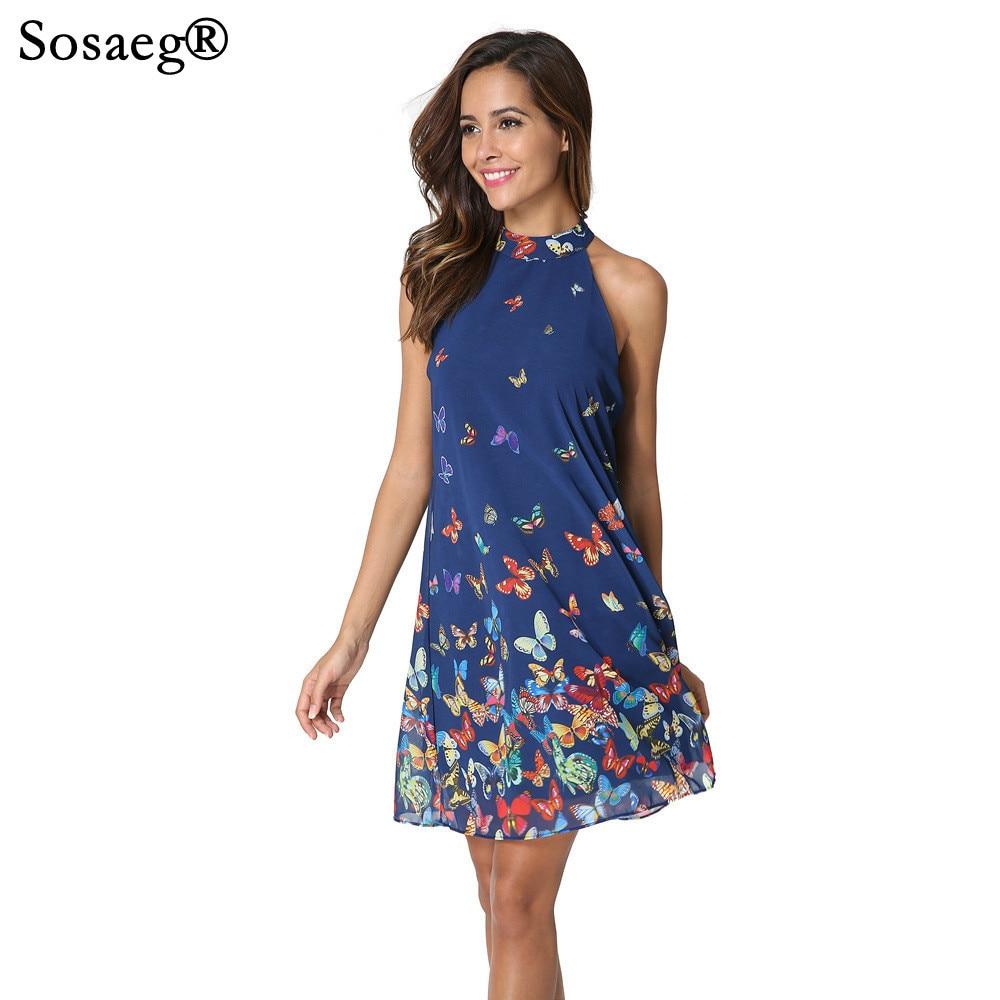 Sosaeg Sleeveless Halter Butterfly Printing chiffon party Dress Women and girls Summer beach tunic print sexy dresses ...